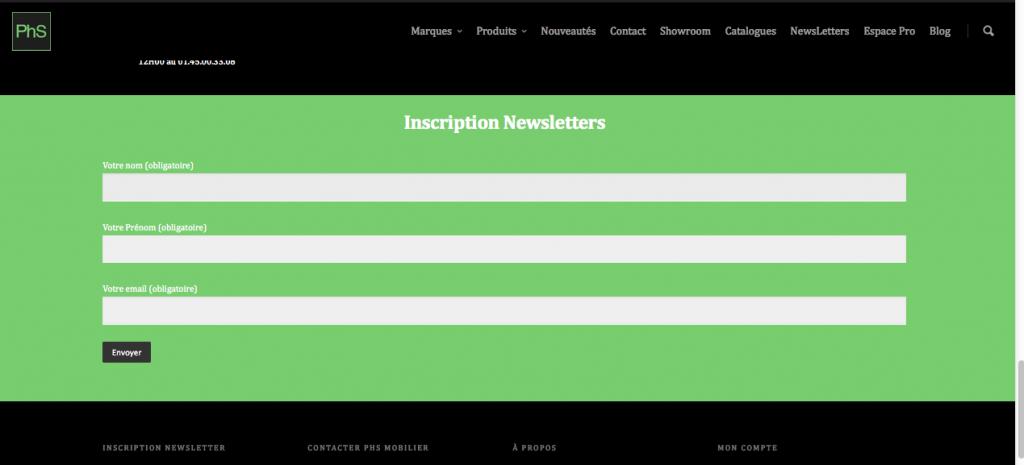 abonnement newsletter phs mobilier
